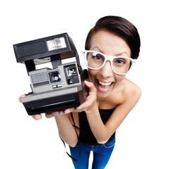 Smiley woman with cassette photographic camera
