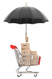 Logistics concept. Shopping cart with boxes being protected by a