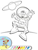 Coloring book - Astronaut jumping