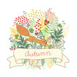 Beautiful card with a squirrel. Vector illustration.