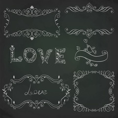 Hand drawn vignettes on the board. Vector illustration.