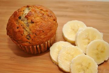 Fresh Banana Nut Muffin with Sliced Bananas