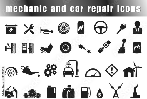 mechanic and car repair icons set