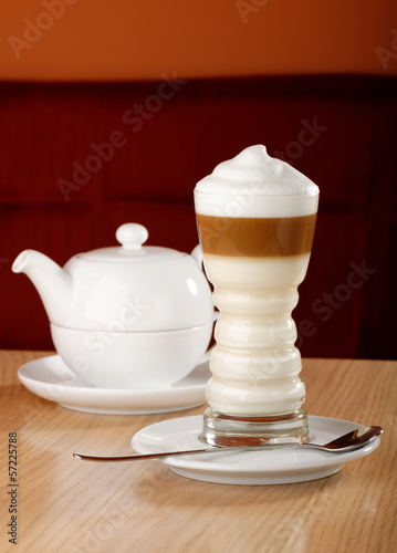 Coffee Latte macchiato and tea pot