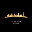 Buffalo New York city skyline silhouette black background