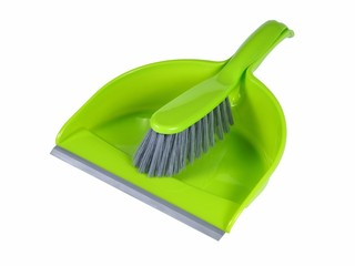 Green Brush and Dust Pan