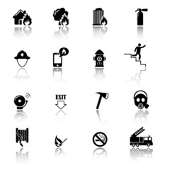 Firefighters and fire prevention icons