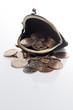 白背景に財布とコイン