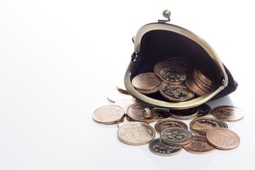 白背景に財布と硬貨