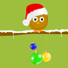 funny animal with christmas balls and snow vector