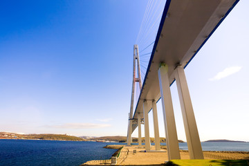 Cable-stayed bridge to Russian Island. Vladivostok. Russia.