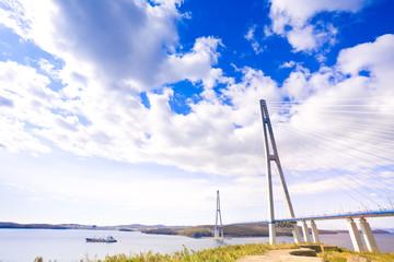 Cable-stayed bridge to Russian Island. Vladivostok. Russia.