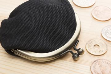 日本の硬貨と財布