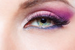 Close up of female eye with bright pink make-up