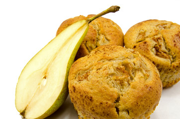 Home baked Pear muffins on white background