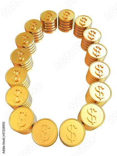 "Number ""zero"" of gold coins with dollar sign"