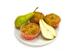 Home baked Pear muffins on plate with white background