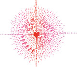 Red and pink sketched heart with arrows