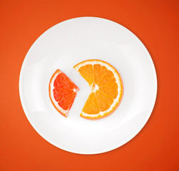 Slices of orange and grapefruit on a plate on color background