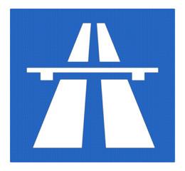 Autobahnzeichen, -symbol mit Reflektierung