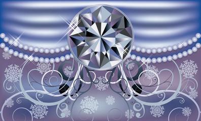 Diamond winter background, vector illustration