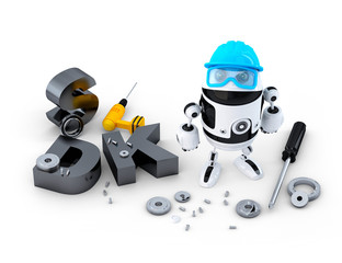 Robot with tools and SDK sign. Technology concept