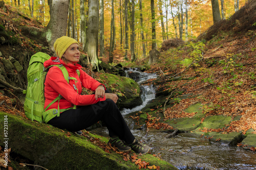 Trekking - woman on mountain hike