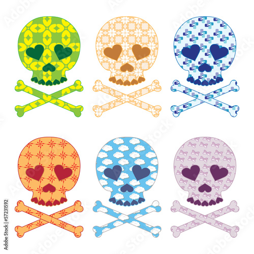 Skull fashion icon set
