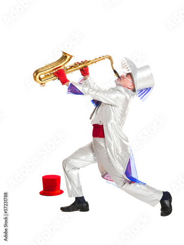 magician plays the trumpet