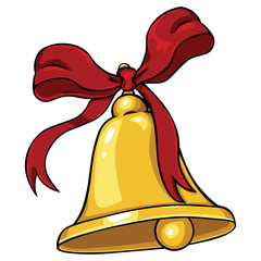 vector cartoon golden bell with red ribbon