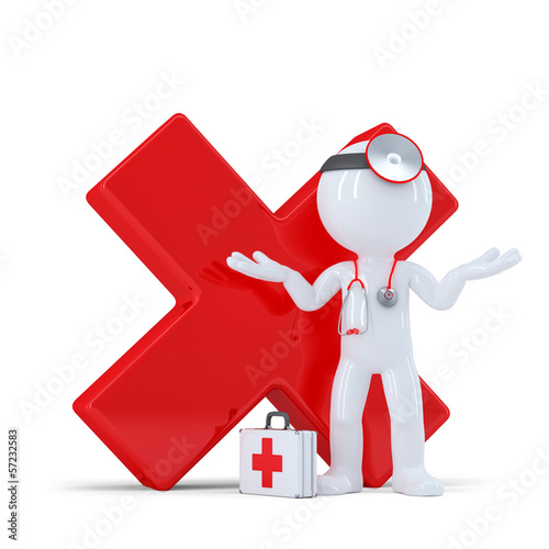 Doctor with red glossy check mark