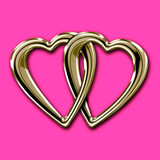 Linked golden hearts isolated on deep pink