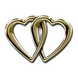 Linked golden hearts isolated on white