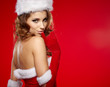 christmas woman on red background