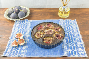 Home baked fig and almond tart