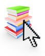 Cursor and colorful books.