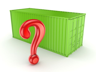 Green container and query mark.