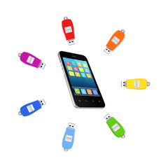 Colorful flashdrives around mobile phone.
