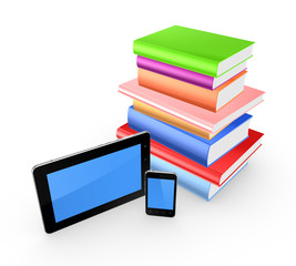 Colorful books, cellphone and tablet pc.
