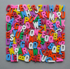 Colorful letter texture shape arranged