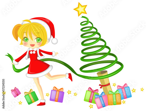 Cute Santa girl is creating a Christmas tree with her ribbon