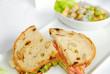Fresh sandwich with fruit salad