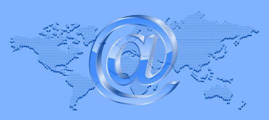 kontyneny 3D i symbol maila
