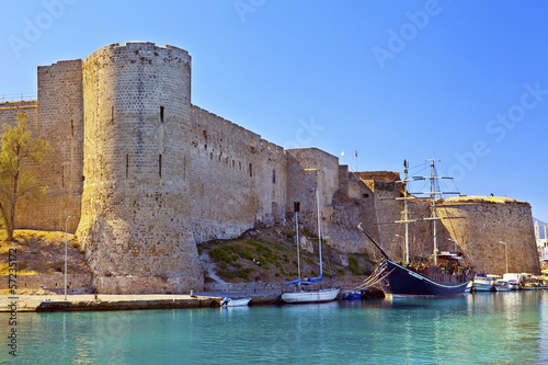 Historic Castle in the old harbor at Kyrenia, Cyprus.