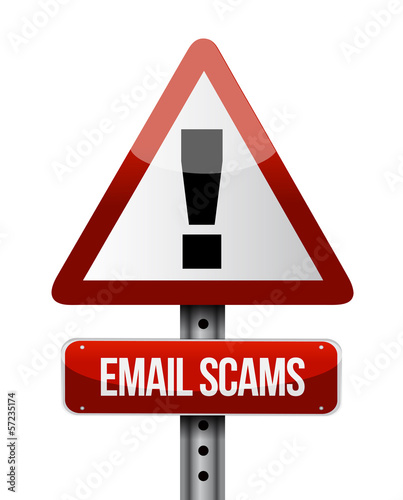 email scams road sign illustration design