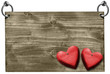 Red Hearts on Wooden Signboard with clipping path