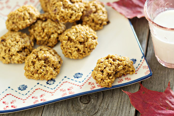 Pumpkin oat cookies on a plate