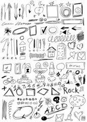 Set hand drawn, doodle, arrow, shapes,  line, numbers, circle