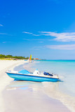 Varadero beach in Cuba with a paddle boat in the foreground