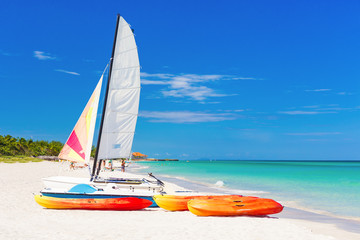 Rental boats at Varadero beach in Cuba